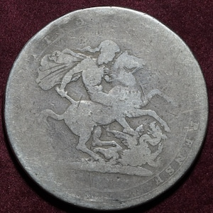 King George III great Britain /& Ireland .925 silver full crown 5 shillings coin 1819 LX