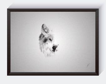Wolf Art Print - Wolf Poster Print - Animal Wall Art - Wolf Portrait - Woodland Nursery Decor - Wildlife Art - Wolf Drawing - Animal Prints