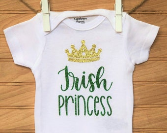 443a70086d862 St. Patrick's Day Onesie, Irish Princess, First Saint Patrick's Day Outfit,  Cute