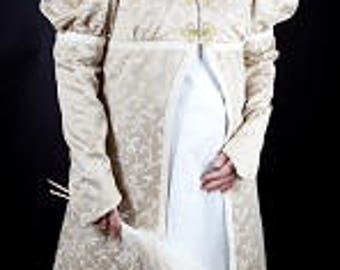 Dress and coat vintage, early 19th century for a wedding theme or other circumstances.
