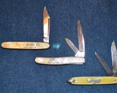 Lot of 3 Colonial Pocket Knives - salesman 39 s sample, serpentine, jack with bail