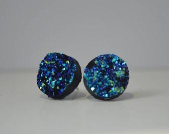 Mermaid druzy earrings, blue druzy earrings, druzy stud earrings, mermaid earrings, mermaid jewelry, blue earrings, bridesmaid, wedding