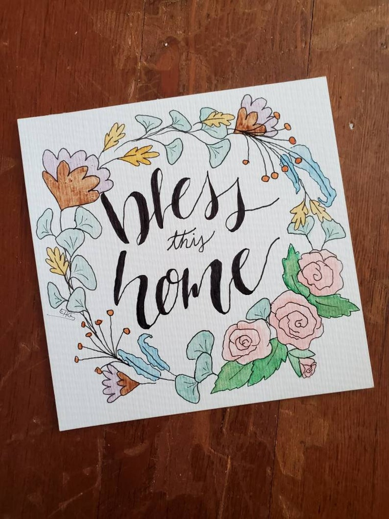 Bless This Home Floral Wreath Watercolor  small room wall home decor religious roses flowers