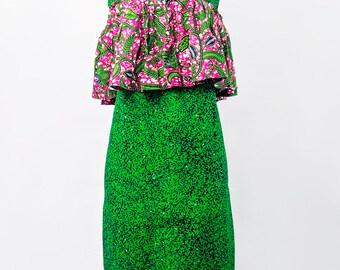 Green Mix Ankara Dress