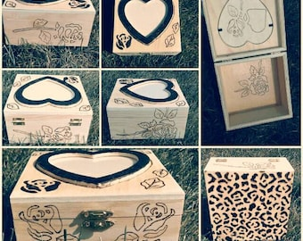 Hand made wood burned jewelry or recipe box with a lock.