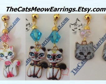 Enamel Kitty Cat Earrings, Choice of Pink, Siamese, Persian or Tabby//Cat Lover Gift//TheCatsMeowEarrings