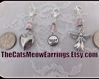 Clip on charms, choice of Heart, Hope or Angel//Breast Cancer Awareness//Charity//Relay for Life//TheCatsMeowEarrings on Etsy