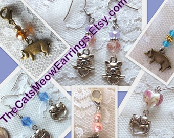 Design Your Own Earrings, Pig Earrings or Pig Charms, //TheCatsMeowEarrings.Etsy.com