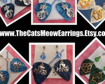 I Love my Cat Earrings, Paw print, Silver Cat //TheCatsMeowEarrings.Etsy.com
