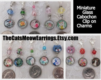 Cabochon Earrings, Kitty Cats, Japanese Kokeshi Dolls, Peacocks, Roses, Birds, etc. Clip On Charms, //TheCatsMeowEarrings