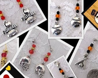 Design Your Own SPORTS Earrings: Charm & Crystal Color -  Baseball or Football YOUR Team colors//TheCatsMeowEarrings