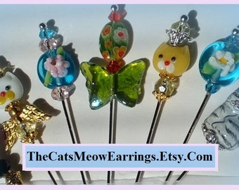 Stick Pin Brooches, Cats, Butterflies or Flowers //TheCatsMeowEarrings.Etsy.com