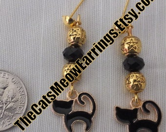 Elegant Black Kitty Cat Earrings, not just for Halloween, for cat lovers everywhere//TheCatsMeowEarrings