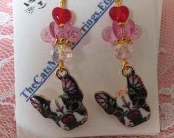 Colorful Boston Terrier dog Earrings, for dog lovers