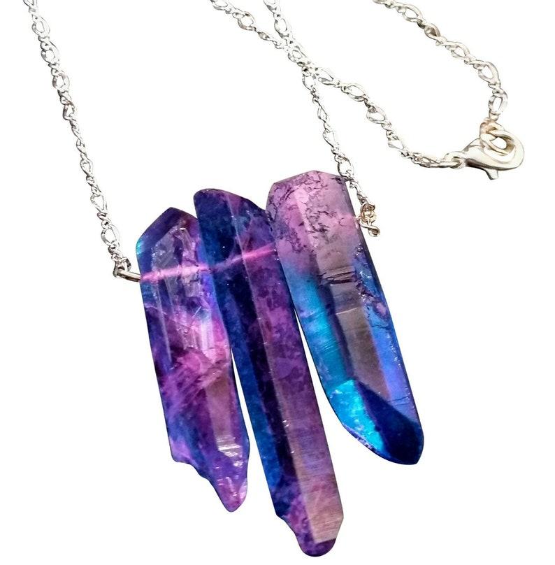 3 Large Purple and Blue Quartz Drop Necklace on Silver Figure image 0
