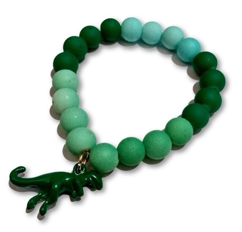 T Rex Dinosaur Green Gradient Beaded Rubber Bead Bracelet for image 0