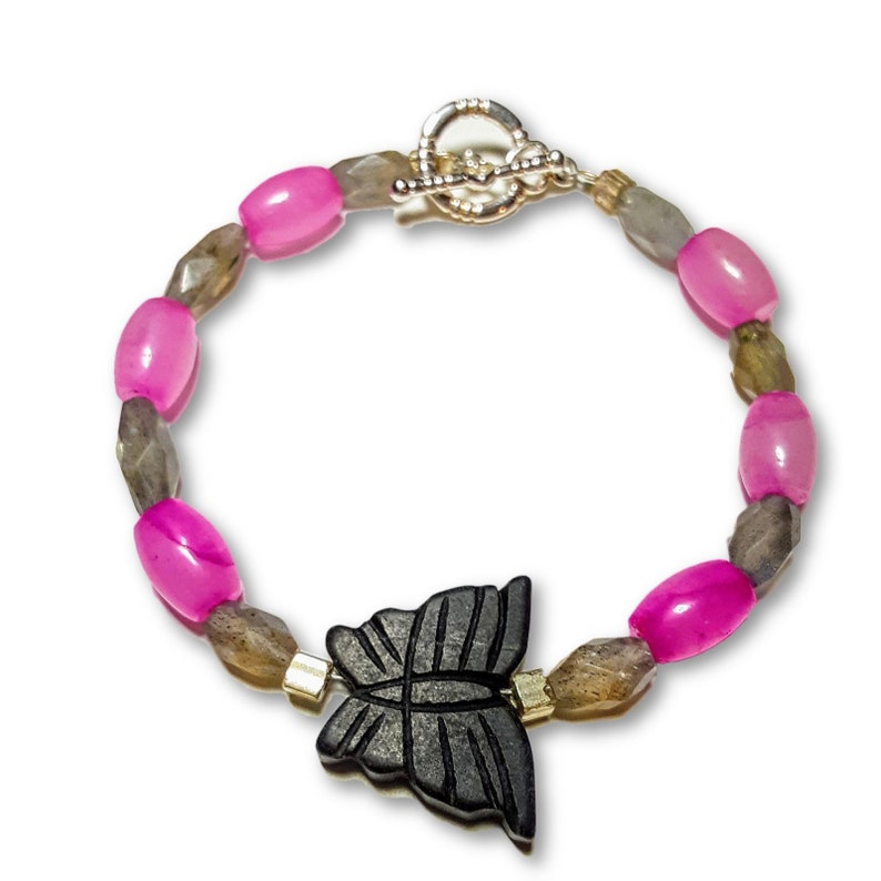 Pink Malaysian Jade And Labradorite With Black Stone Butterfly image 0