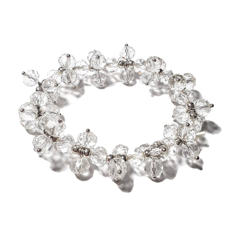 Pure White Clear Crystal Multi Beaded Twist Stretch Bracelet image 0