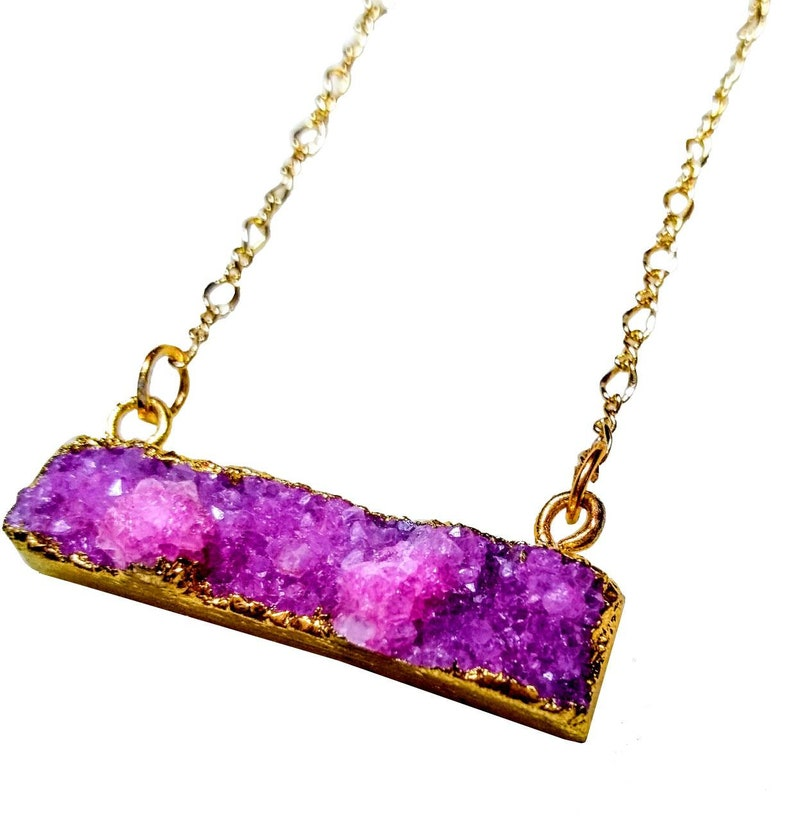 Pink Fuschia raw natural dyed geode druzy bar gold pendant image 0