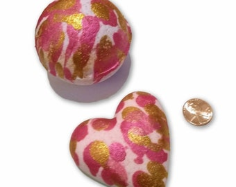 Glitter Mica Painted Bath Bomb Pink Gold Mica Lemongrass and Orange Scented Bath Fizzy Set of 2