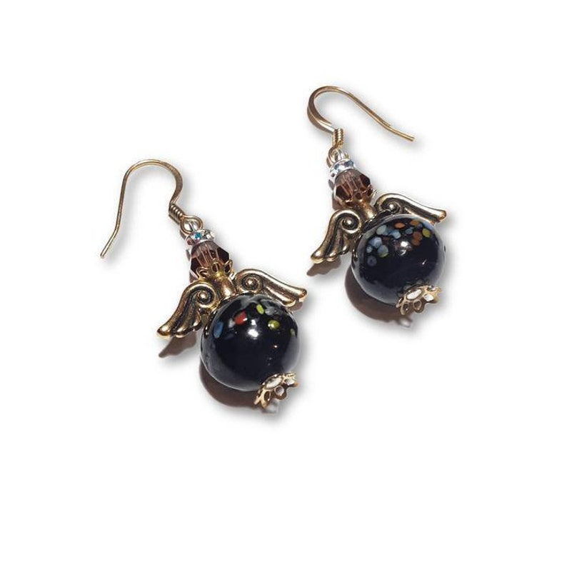 Black Lampwork Glass Angel Earrings with Gold Wings and image 0