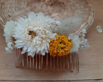 dried flower hair comb