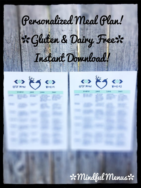Meal Prep, gluten Free Dairy Free meal menu, food allergy, meal plan,  weight loss, weight tracker, healthy, fitness, grocery list, planner,