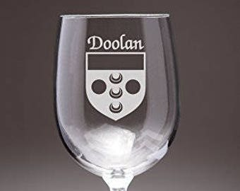 Doolan Irish Coat of Arms Wine Glasses - Set of 4 (Sand Etched)