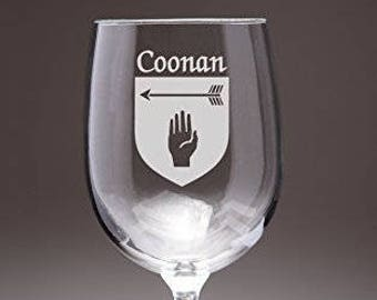Coonan Irish Coat of Arms Wine Glasses - Set of 4 (Sand Etched)