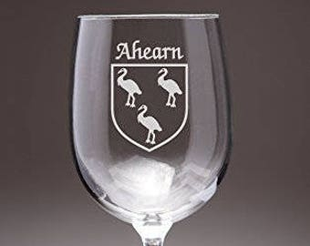 Ahearn Irish Coat of Arms Wine Glasses - Set of 4 (Sand Etched)