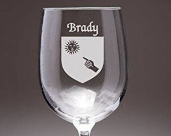 Caffrey Irish Coat of Arms Wine Glasses - Set of 4 (Sand Etched)
