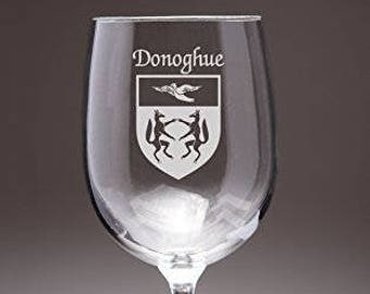 Donoghue Irish Coat of Arms Wine Glasses - Set of 4 (Sand Etched)