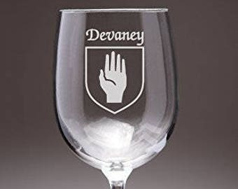 Devaney Irish Coat of Arms Wine Glasses - Set of 4 (Sand Etched)