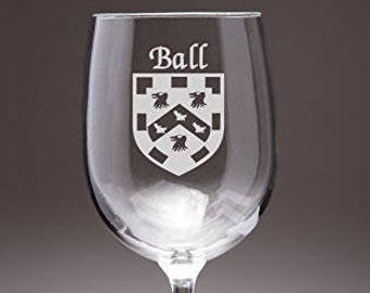 Ball Irish Coat of Arms Wine Glasses - Set of 4 (Sand Etched)