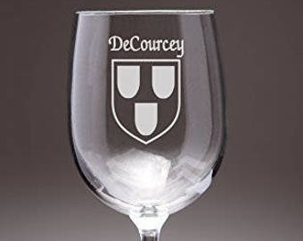 DeCourcey Irish Coat of Arms Wine Glasses - Set of 4 (Sand Etched)