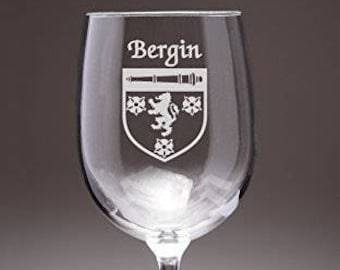 Bergin Irish Coat of Arms Wine Glasses - Set of 4 (Sand Etched)