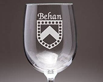Behan Irish Coat of Arms Wine Glasses - Set of 4 (Sand Etched)