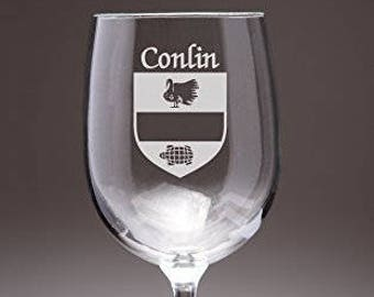 Conlin Irish Coat of Arms Wine Glasses - Set of 4 (Sand Etched)