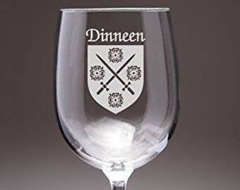 Dinneen Irish Coat of Arms Wine Glasses - Set of 4 (Sand Etched)