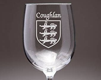 Coughlan Irish Coat of Arms Wine Glasses - Set of 4 (Sand Etched)