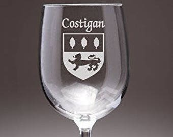 Costigan Irish Coat of Arms Wine Glasses - Set of 4 (Sand Etched)