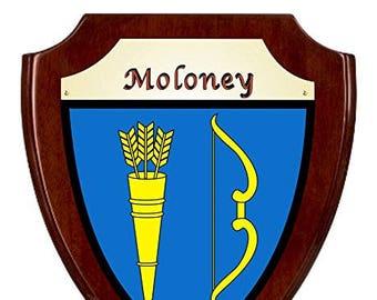 Moloney Irish Coat of Arms Shield Plaque - Rosewood Finish