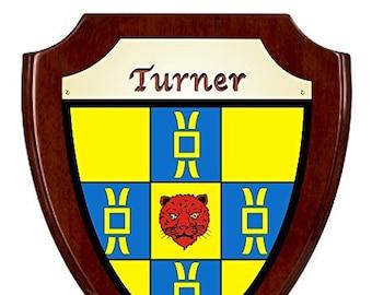 Turner Irish Coat of Arms Shield Plaque - Rosewood Finish