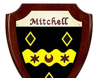 Mitchell Irish Coat of Arms Shield Plaque - Rosewood Finish