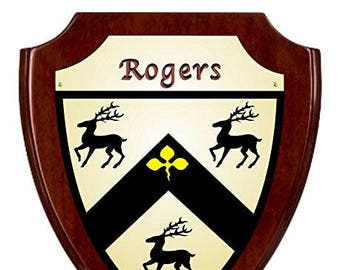 Rogers Irish Coat of Arms Shield Plaque - Rosewood Finish