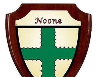 Noone Irish Coat of Arms Shield Plaque - Rosewood Finish