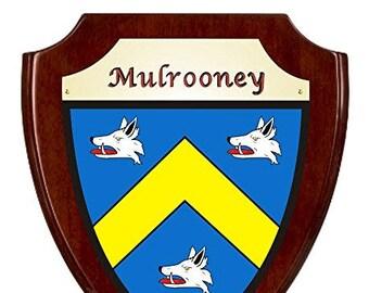 Mulrooney Irish Coat of Arms Shield Plaque - Rosewood Finish