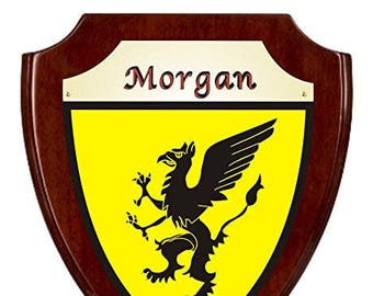 Morgan Irish Coat of Arms Shield Plaque - Rosewood Finish