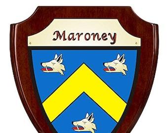 Maroney Irish Coat of Arms Shield Plaque - Rosewood Finish