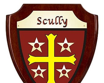 Scully Irish Coat of Arms Shield Plaque - Rosewood Finish